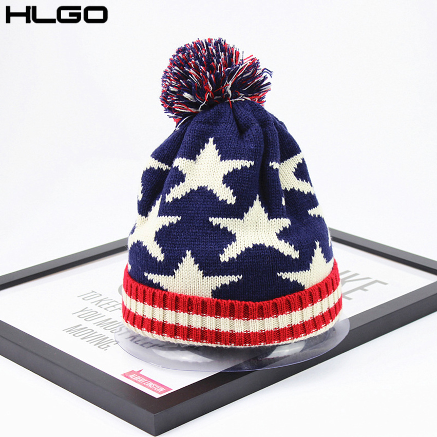 7695ef0e US $8.02 | Fashion Knitted Hat American Flag Stars Pattern Stretch Casual  Beanie Hats for Women Man with Pom Soft Warm Cotton Cap-in Men's Skullies &  ...