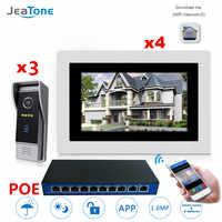 7'' WIFI IP Video Door Phone Intercom Wireless Door Bell Door Access Control System Touch Screen Motion Detection 3 Doors to 4