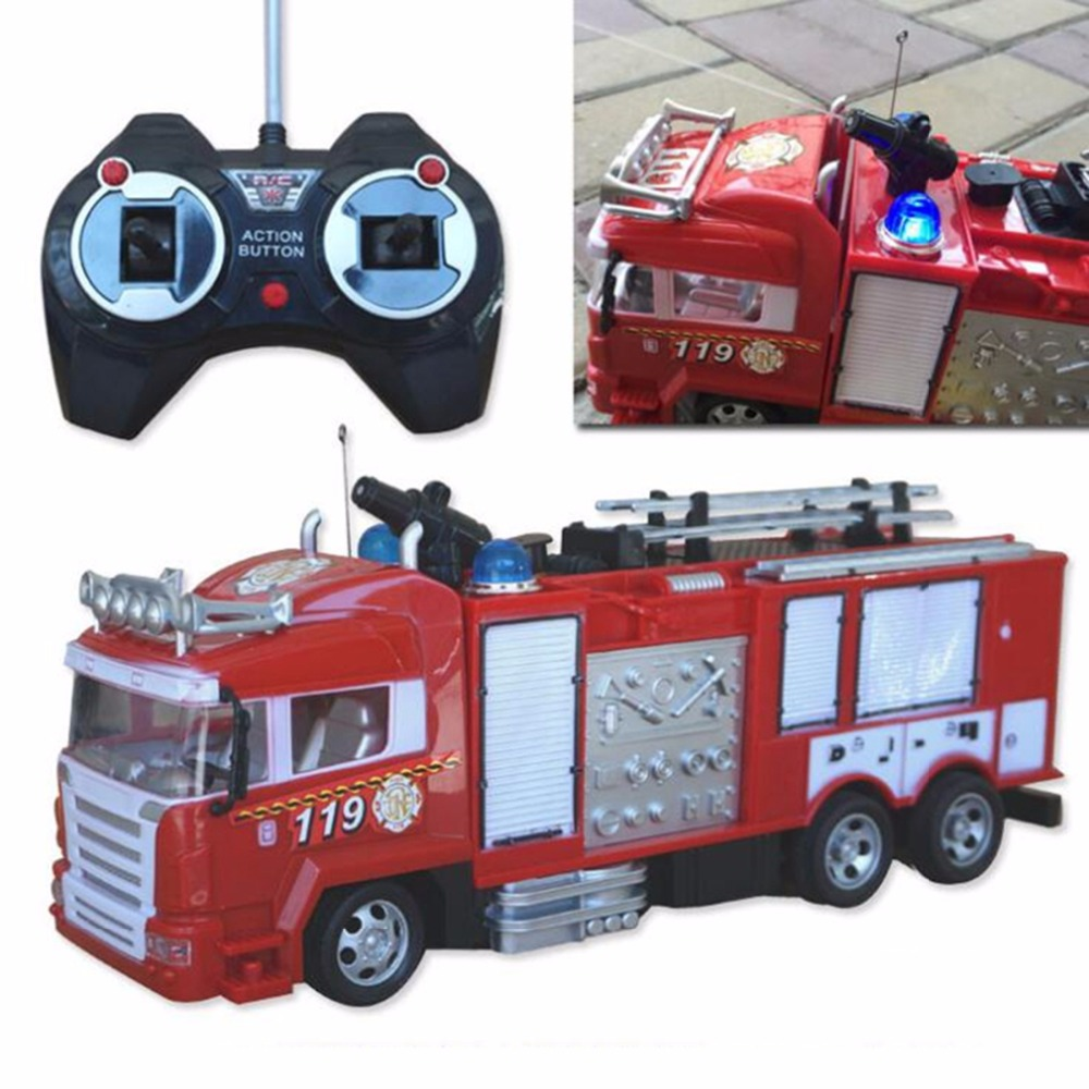 4ch Simulation RC Fire Truck Toys With Music And Light Children's Boys RC Truck Toys Gifts RC Engineering Car Remote Control Car