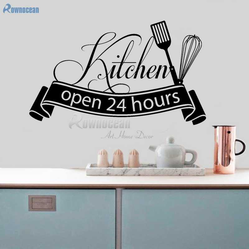 Open 24 Hours Kitchen Wall Stickers Vinyl Home Decor Art Decals Quotes Self Adhesive Film Muursticker Decoration Diy Mural D599 Wall Sticker Kitchen Wall Stickersdecoration Art Aliexpress