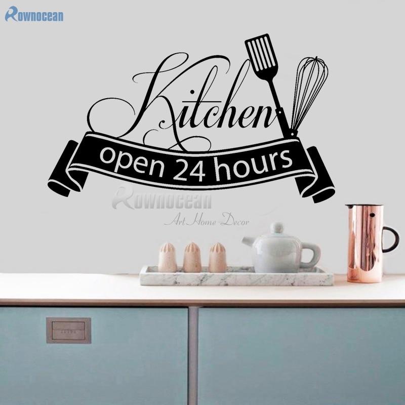 Open 24 hours Kitchen Wall Stickers Vinyl Home Decor Art Decals Quotes Self-adhesive film Muursticker Decoration DIY Mural D599