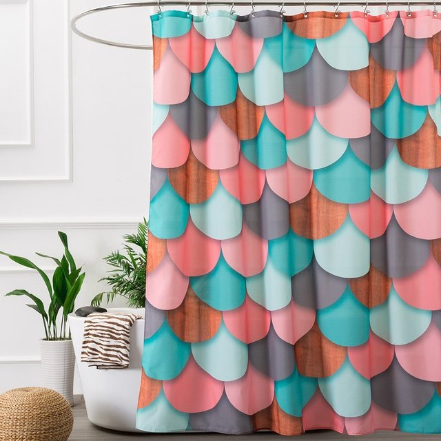 Shower Curtain Colorful Fish Scale Pattern Printing Waterproof Mildewproof  Polyester Fabric Bath Curtain Set