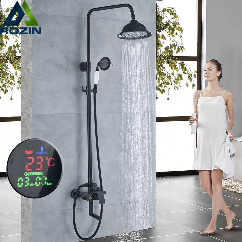 Brass Rainfall Shower Mixer Faucet in Wall Digital Display Mixer Valve Bath Shower Set Rotate Tub Spout Hand Shower Mixer Taps chrome finish 8 inch shower faucet bath shower mixer taps brass wall mount shower arm abs handshower brass mixer valve