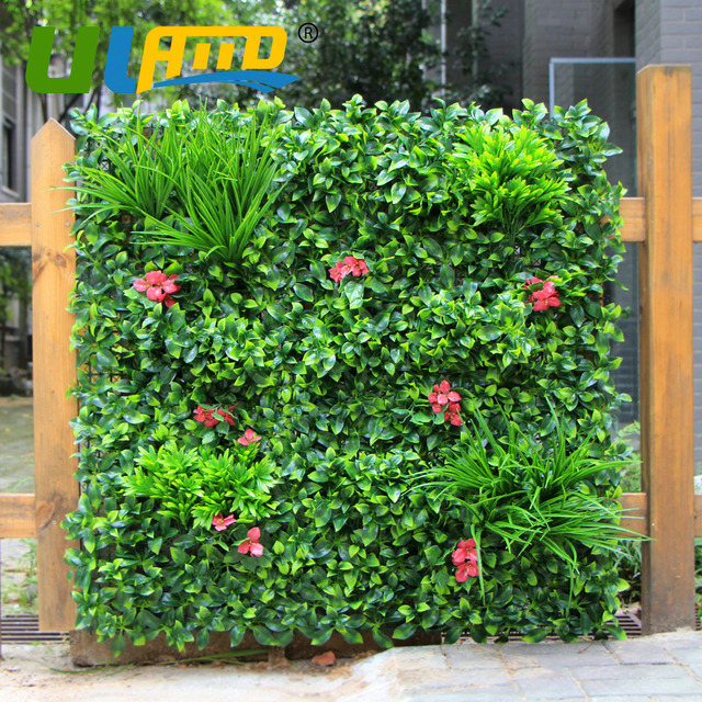 outdoor artificial boxwood hedge privacy green plastic plants 1x1m
