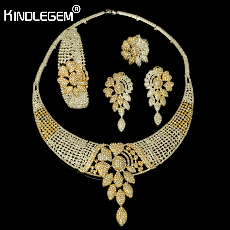 2018 New High Fashion Dubai Jewelry Set Silver Gold Color Nigerian Wedding African Beads Jewelry Sets