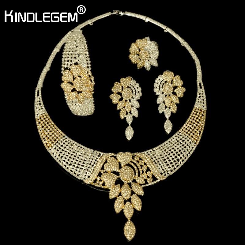 2018 nouveau ensemble de Bijoux Dubai haute couture couleur argent or mariage nigérian perles africaines ensembles de Bijoux Parure Bijoux Femme
