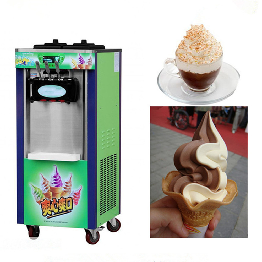 Ice cream maker Commercial Soft Ice cream machine Icecream machine Yogurt machine 1800W 3 Flavor 220V