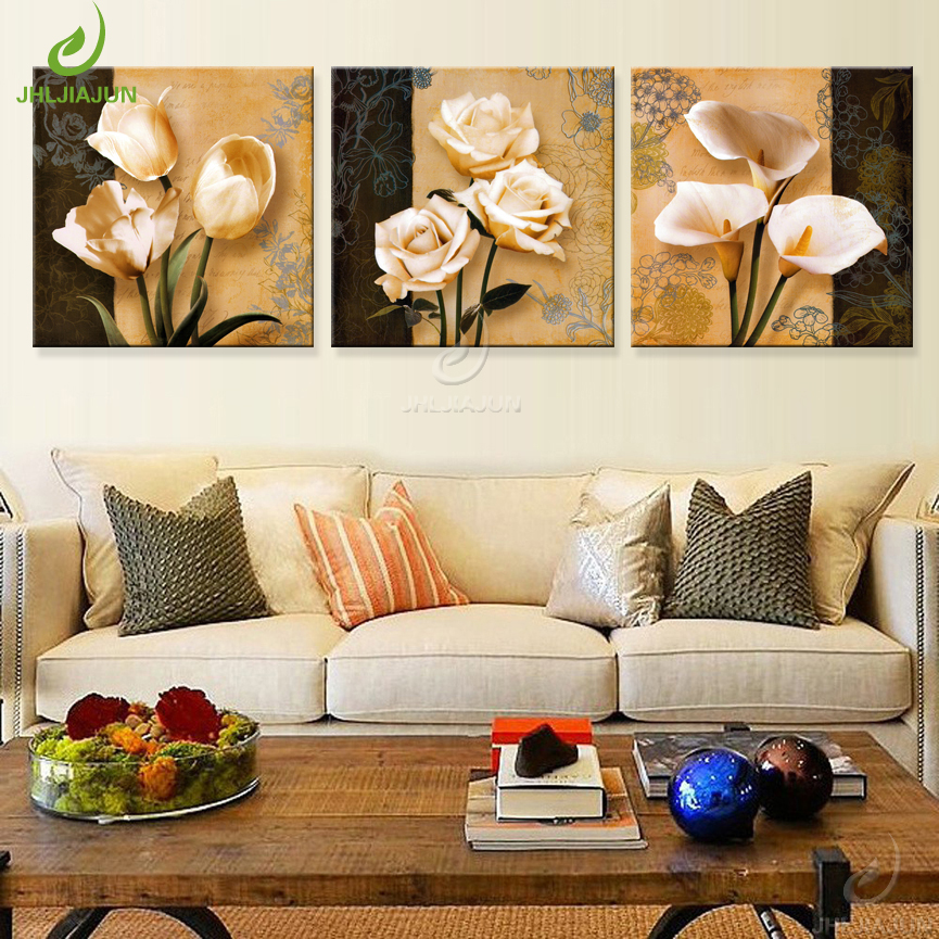 Jhljiajun Art Print Modular Paintings For Kitchen Living Room Bedroom Wooden Frame Orchid Canvas