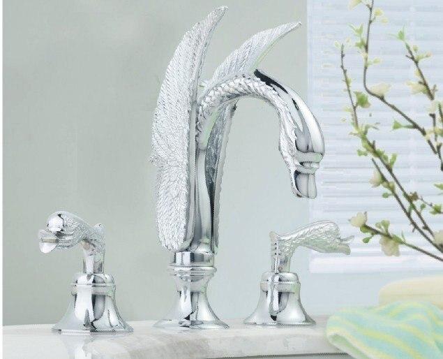 Хром отделка 3шт лебедь умывальник кран с слив большое расстояние между отверстиями туалет кран
