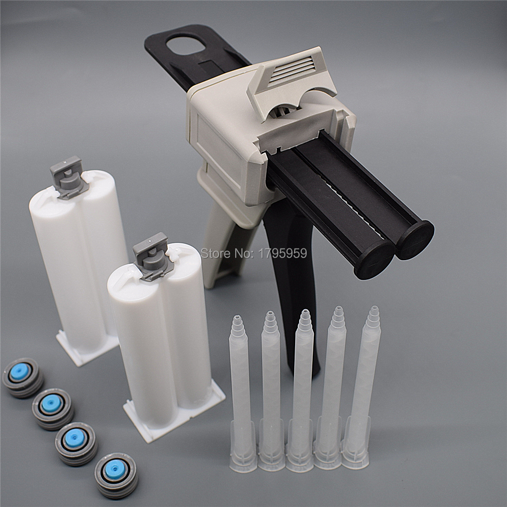 50ml 1:1 AB Glue Gun Applicator Glue Adhensive Caulking Gun with 5pc Static Mixing Nozzles 2pc 50ml Empty Dual-Barrel Cartridge