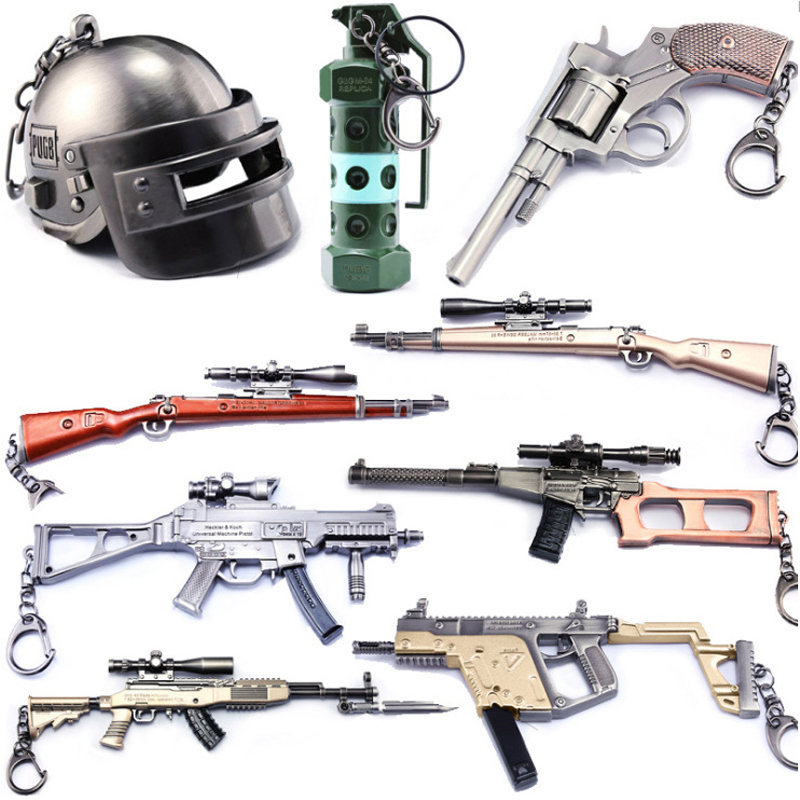 PUBG Game Playerunknown's Battlegrounds Gun Ornaments pubg Helmet Alloy Key Pendant Keychain Action Figure Toys Gift all characters tracer reaper widowmaker action figure ow game keychain pendant key accessories ltx1