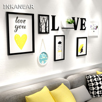 Big Size with Painting Photo Frame Set LOVE Letter Modern Home Decor Wood Wall Decoration Family Picture Frame Wall