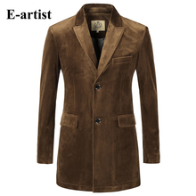 Mens Slim Fit Long Solid Velvet Blazer Jackets Causal Suit  Outwear Coats Overcoats Plus Size Wine Camel S-5XL X36