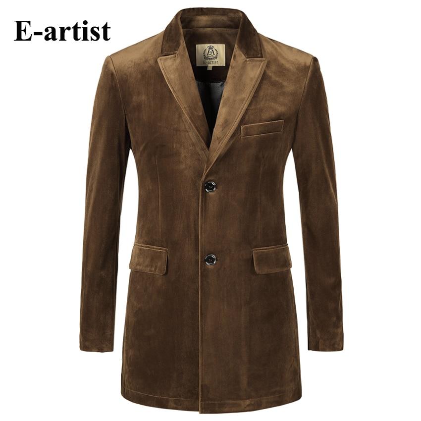 Mens Slim Fit Long Solid Velvet Blazer Jackets Causal Suit Outwear Coats Overcoats Plus Size Wine
