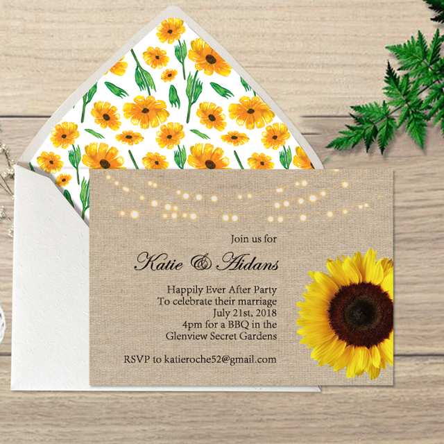 Sunflower wedding invitations floral wedding cards with lined sunflower wedding invitations floral wedding cards with lined invitation envelope set of 50 filmwisefo