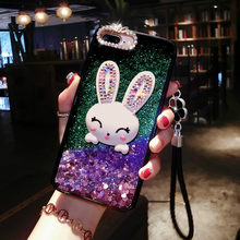 Diamond Rabbit Cover For Sansung note 3 Cover Liquid Mobile Phone Cases For Galaxy note 4 5 8 c5 c7 c9 pro Bracket Phone Case(China)