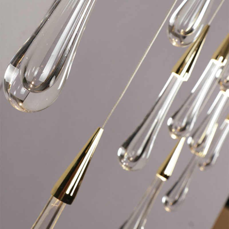 Emas Air Drop Crystal Pendant Light Kreatif Mewah Bergaya Eropa Lampu LED DIY Menangguhkan Lampu Modern Pencahayaan Dalam Ruangan Bar lampu