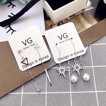 Korea New Handmade Star Imitation Pearl Zircon Rhinestone Women Drop Earrings Dangler Fashion Jewelry Accessories-SWD5