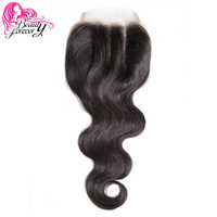 Beauty Forever Malaysian Hair Lace Closure Body Wave Remy Human Hair 4*4 Three Part Closure 120% Density Natural Color