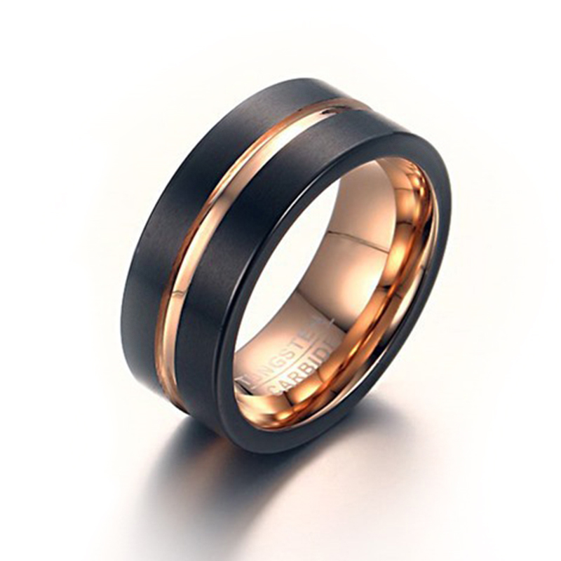 Quality Steel Tungsten Carbide Ring for Men Two Colors Rose Gold and Black Ri