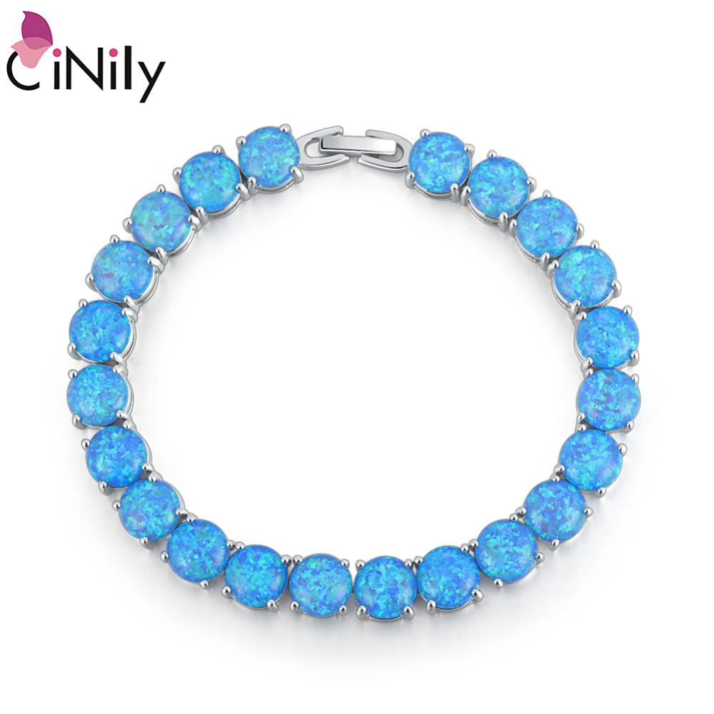 CiNily White & Blue Fire Opal Stone Link Bracelet Silver Plated Chain Bangle Luxury Larger Boho Engagement Summer Jewelry Woman