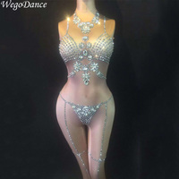 new Shining Crystals Jumpsuit Fashion Stage Dance Outfit Birthday Prom Bodysuit Show Female Singer Stage Rompers
