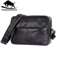 DongFang Miracle new men casual shoulder bag small genuine leather messenger bags simple Sling Bag For Man