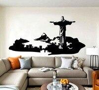 Rio De Janeiro Duvar Dekor Duvar Ev Salon Sanat Dekoratif Skyline Duvar Sticker Brezilya Sanat Van Yaratıcı Tasarım Çıkartması D-323