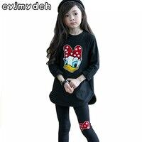 Outono conjuntos de roupas de algodão meninas dos desenhos animados daisy manga longa Top & pant legging set 2-8 T crianças ternos meninas roupas roupas para crianças