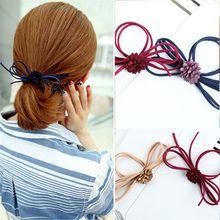 1pc Women Hair Bow Flower Elastic Hair Bands Rope Ties Floral Headwear Headband Hair Styling Tools Hair Accessories