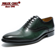 Handmade Men Leather Shoes High Quality Italian Design Brown Green Lace Up Pointed Toe Business Formal Shoes Men Wedding Shoes