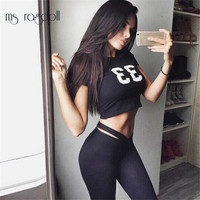 2017 New Women Cotton Fitness Fashion Set Women Tie Waist Leggings And Crop Top Suits 33