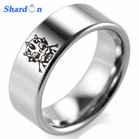 SHARDON Men S 8mm Tungsten Rings Black Laser Clone Trooper Design Men S Promise Wedding Bands