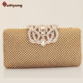 Lowest Price New Women Full Diamond Day Clutches Fashion Rhinestone Crown Hasp Wedding Handbag Evening Bag With Shoulder Chain