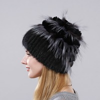Women's Real Mink Fur hat For Winter Natural Big Piece Rabbit Fur Rex Fox Fur Hat Female Fur Headwear 2017 New Fashion Warm Cap