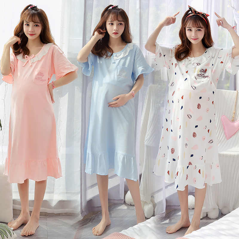 Summer Women short-sleeved cotton dress Nightgown Breastfeeding maternity clothes women feeding dresses casual maternity dresses