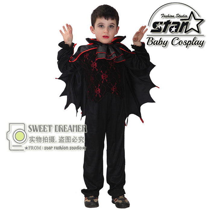 M~XL Boys Fancy Gothic Vampire King Costume Evil Cosplay Carnival Masquerade Party Halloween Batman Kids Children Suit 4pcs gothic halloween artificial devil vampire teeth cosplay prop for fancy ball party show