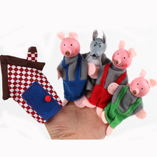 5 pcs/ set  Cloth Animal hand puppet Three pigs  finger puppet  Wooden head learning aid dolls cloth play game Cartoon pig toy