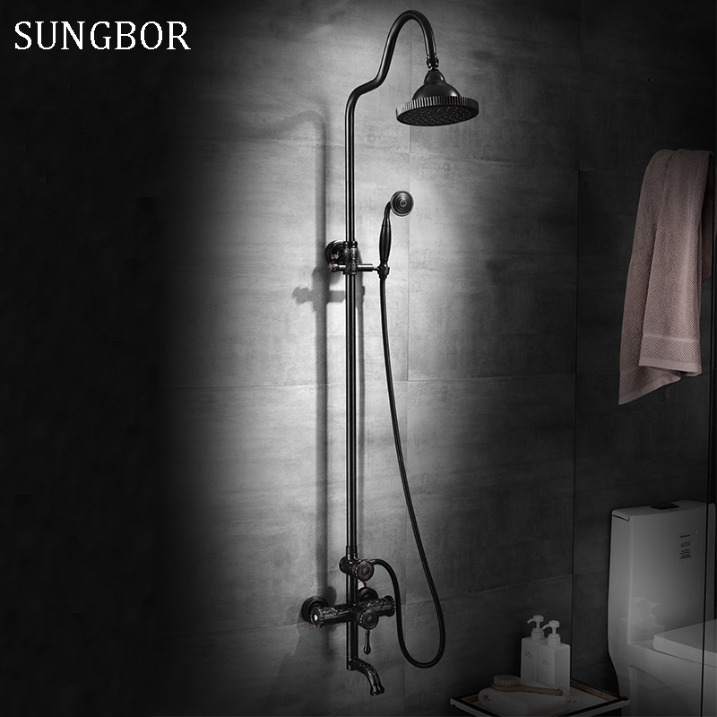 Luxury Black Oil Brushed Bathroom Brass Rain Shower Set, Shower Faucet European style Bath & Shower Faucet Set, Wall Mounted