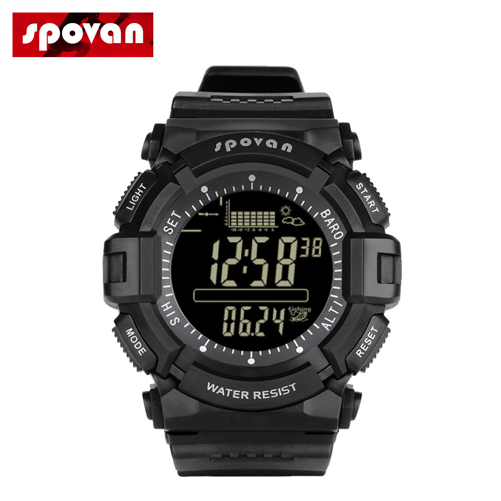 Digital Sports Smart Watch Men Outdoor Wristwatch 5ATM Waterproof With Fishing Remind Weather Forecast LED Backlight Stopwatch