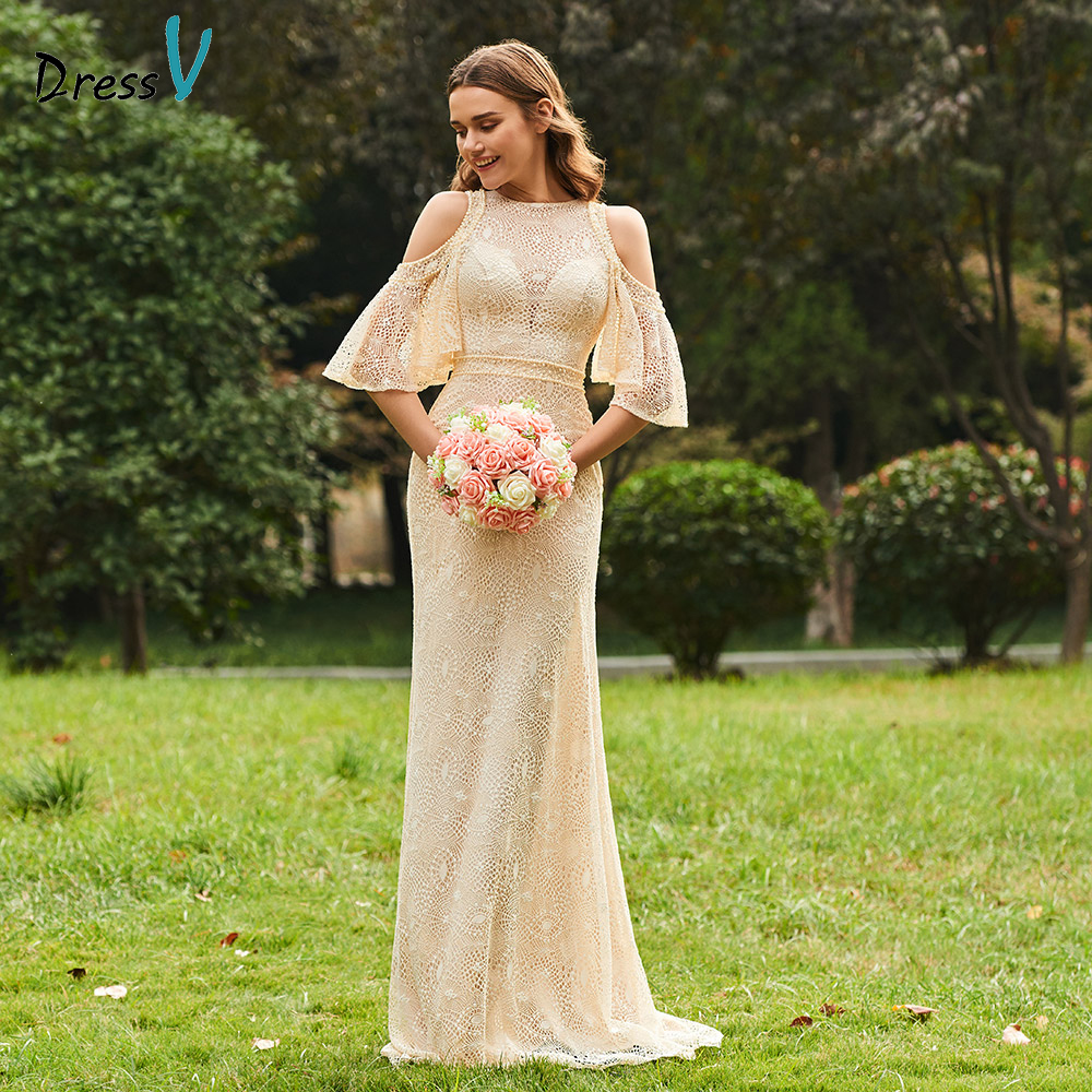 Dressv champagne scoop neck a line bridesmaid dress zipper up half sleeve lace wedding party women floor length bridesmaid dress