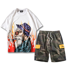 Man Hip Hop Summer Myth Ghost Floral TrackSuit Suit T Shirt Tee Top Pants Sport Sets