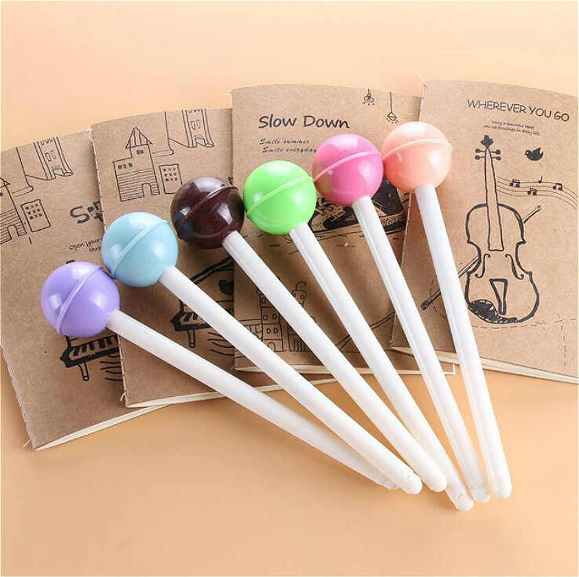 1pcs Kawaii office gel pen Creative cute Lollipop pattern school stationery Supplies Black ink 0.5mm Pen refill