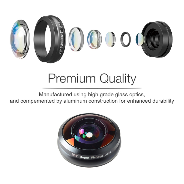 APEXEL Phone Lens 238 degree super fisheye lens, 0.2X full frame super Wide angle lens for iPhone 6 7 android ios smartphone 3