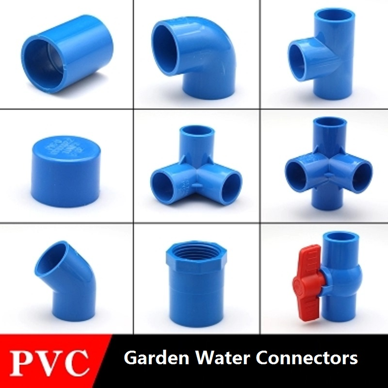 PVC Water Supply Pipe Fittings Blue Straight Elbow Solid Equal Tee Four-way Connectors Plastic Joint  Irrigation Water Parts