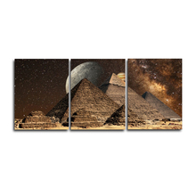 Laeacco 3 Panel Places of Interest Moon Night Posters and Prints Canvas Painting Pyramid Wall Art Picture Living Room Home Decor