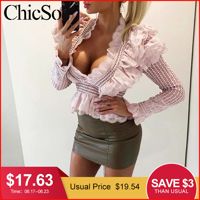MissyChilli Ruffle sexy pink lace blouse shirt Women v neck hollow out black shirt Autumn winter white shirt elegant female top