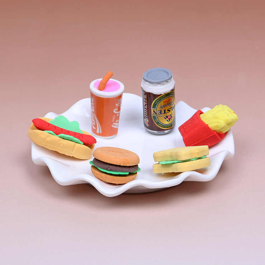 6PCS/set Kawaii Cake Hamburger Food Drink Coke Rubber Eraser Set Stationery School Supplies Novelty Creative Kids Gift
