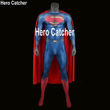 купить Hero Catcher High Quality 3D Logo Superman Suit Man of Steel Cosplay Costume Superman Costume With Cape 3D Print Hero Costume по цене 6066.97 рублей