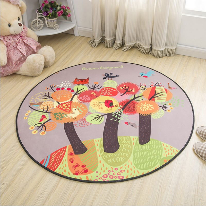 Round Cartoon Style Kids Carpets Anti-Skid Rugs For Bedroom/Bathroom Competer Chair Mats Cute Animals Rugs BABY game mat cartoon